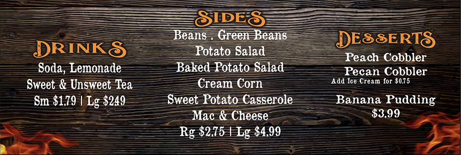Dee Willie's BBQ Menu